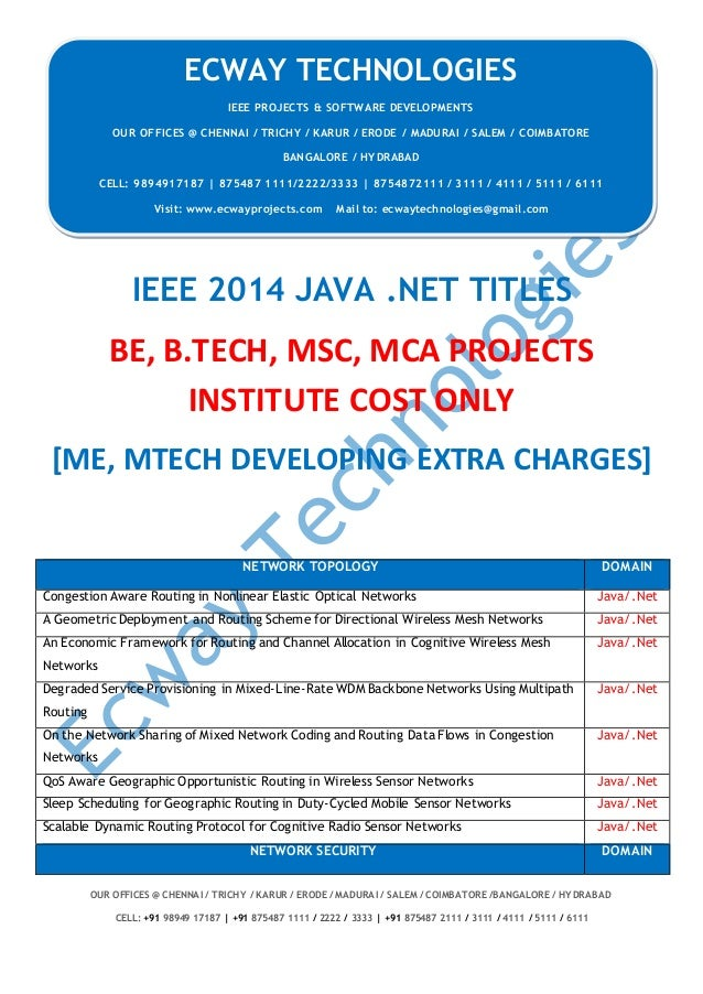 ECWAY TECHNOLOGIES 2014-15 IEEE Software | Embedded | Mechanical Projects Development OUR OFFICES @ CHENNAI / TRICHY / KAR...