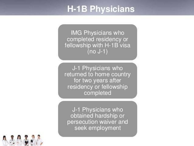 H-1B Physicians  IMG Physicians who  completed residency or  fellowship with H-1B visa  (no J-1)  J-1 Physicians who  retu...