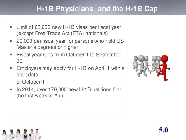 H-1B Physicians and the H-1B Cap   Limit of 65,000 new H-1B visas per fiscal year  (except Free Trade Act (FTA) nationals...