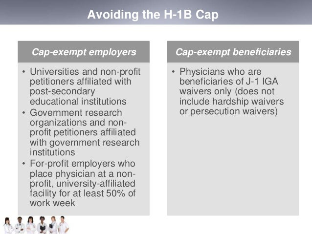Avoiding the H-1B Cap  Cap-exempt employers  • Universities and non-profit  petitioners affiliated with  post-secondary  e...