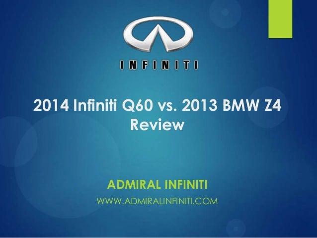 2014 Infiniti Q60 vs. 2013 BMW Z4 Review  ADMIRAL INFINITI WWW.ADMIRALINFINITI.COM