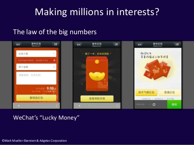 """©Mark Mueller-Eberstein & Adgetec Corporation Making millions in interests? WeChat's """"Lucky Money"""" The law of the big numb..."""