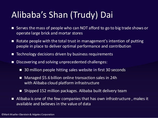 ©Mark Mueller-Eberstein & Adgetec Corporation Alibaba's Shan (Trudy) Dai  Serves the mass of people who can NOT afford to...