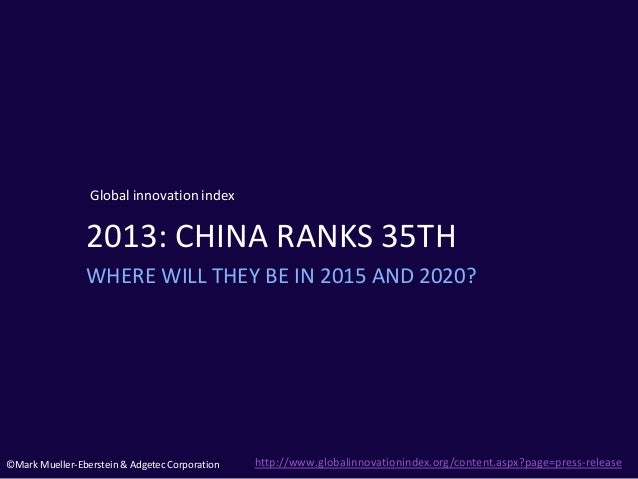 ©Mark Mueller-Eberstein & Adgetec Corporation Global innovation index 2013: CHINA RANKS 35TH WHERE WILL THEY BE IN 2015 AN...