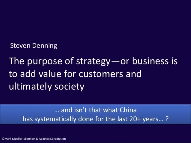 ©Mark Mueller-Eberstein & Adgetec Corporation The purpose of strategy—or business is to add value for customers and ultima...