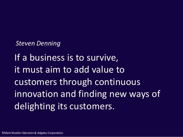 ©Mark Mueller-Eberstein & Adgetec Corporation If a business is to survive, it must aim to add value to customers through c...