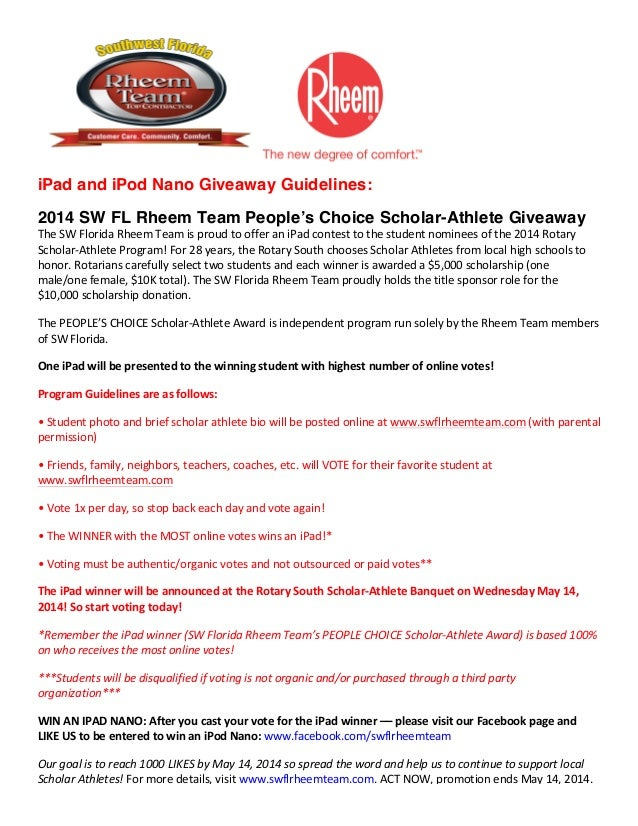 iPad and iPod Nano Giveaway Guidelines: