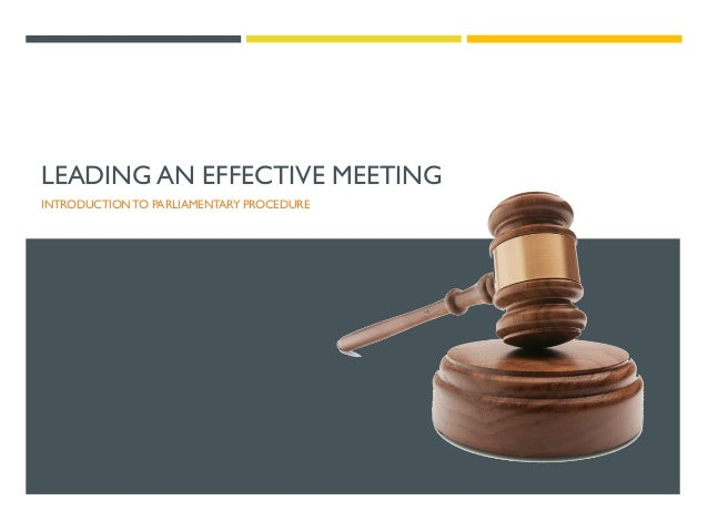 LEADING AN EFFECTIVE MEETING INTRODUCTION TO PARLIAMENTARY PROCEDURE