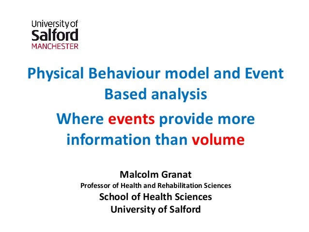 Physical Behaviour model and Event Based analysis Where events provide more information than volume Malcolm Granat Profess...