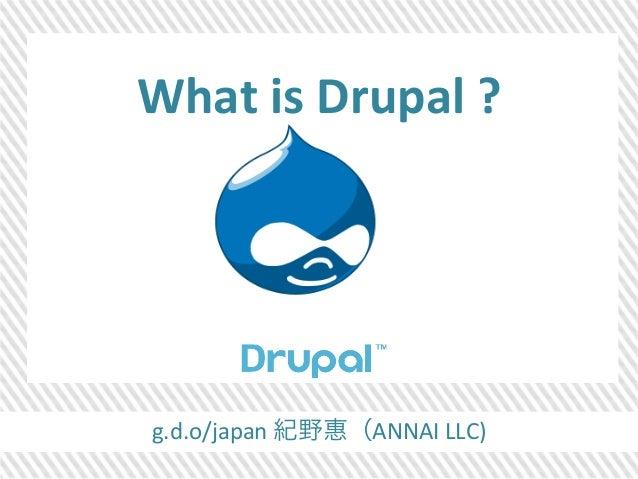 What  is  Drupal  ?  g.d.o/japan  紀野惠(ANNAI  LLC)