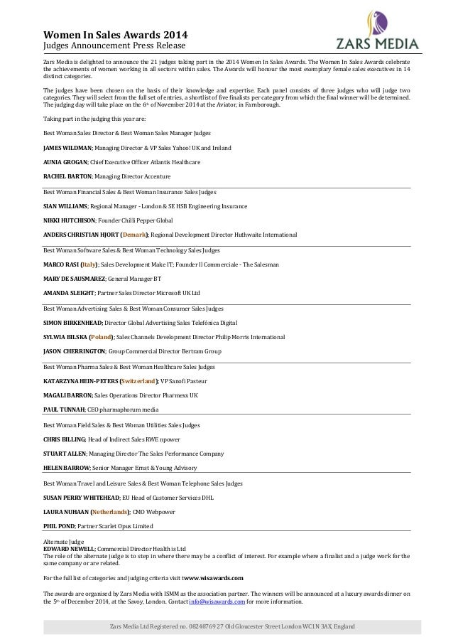 Women In Sales Awards 2014 Judges Announcement Press Release  Zars Media is delighted to announce the 21 judges taking par...