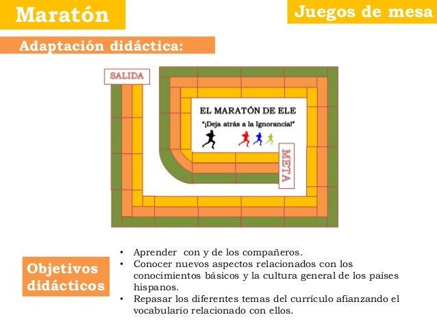 Juegos de mesaMaratón Objetivos didácticos Adaptación didáctica: • Aprender con y de los compañeros. • Conocer nuevos aspe...