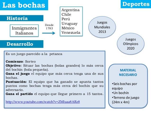 Historia Desarrollo Las bochas Deportes Inmigrantes Italianos Argentina Chile Perú Uruguay México Venezuela Juegos Mundial...