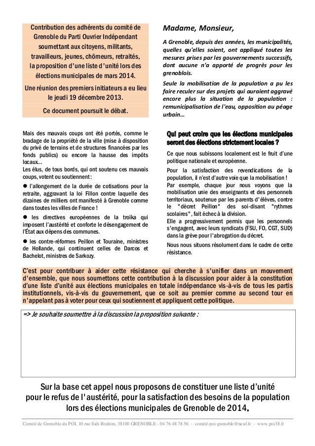 Contribution des adhérents du comité de Grenoble du Parti Ouvrier Indépendant soumettant aux citoyens, militants, travaill...