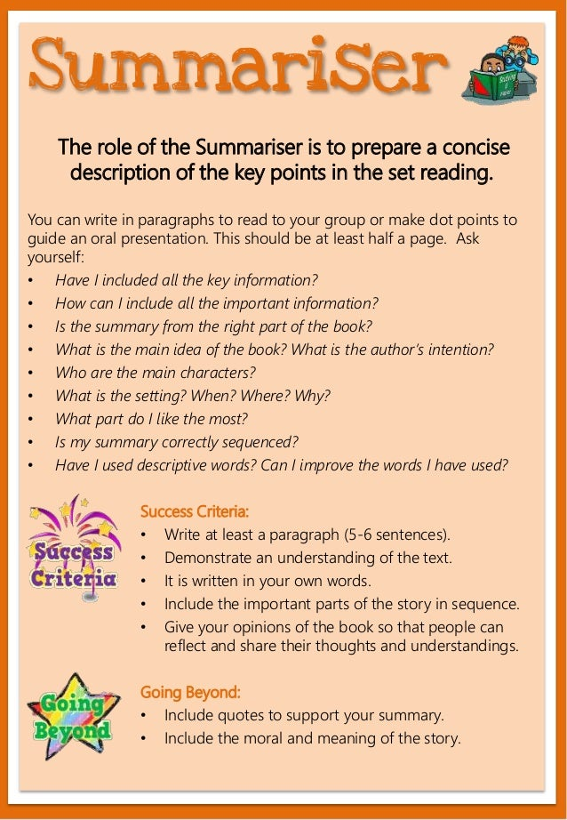 The role of the Summariser is to prepare a concise description of the key points in the set reading. You can write in para...