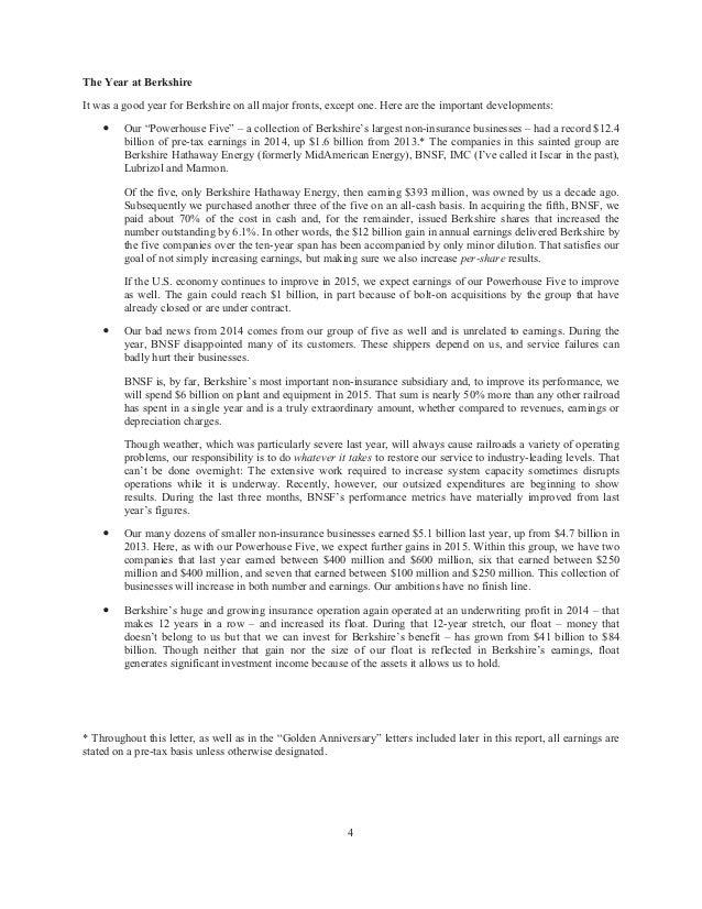 Berkshire Hathaway Annual holder Letter 2014