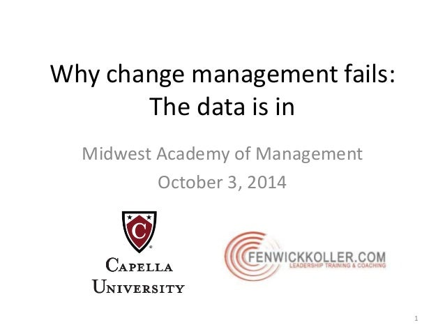 Why change management fails:  The data is in  Midwest Academy of Management  October 3, 2014  1