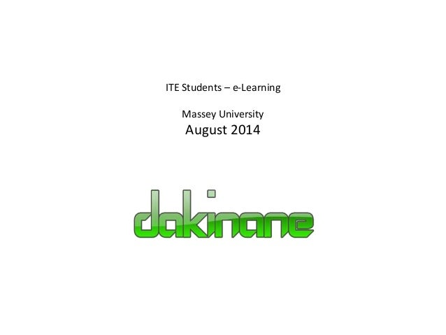 ITE Students – e-Learning  Massey University  August 2014