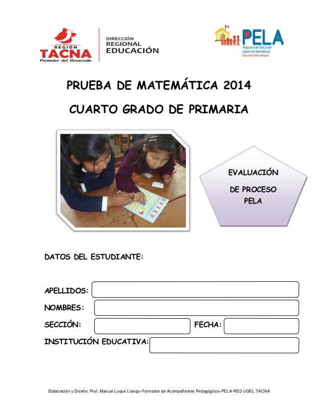 EXAMEN DE PROCESO 4to primaria.