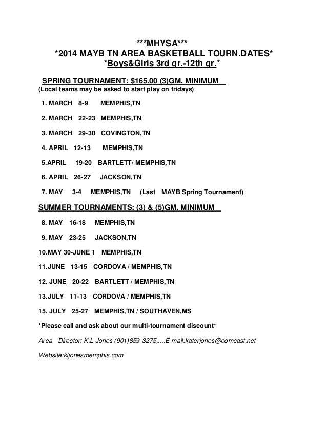 ***MHYSA*** *2014 MAYB TN AREA BASKETBALL TOURN.DATES* *Boys&Girls 3rd gr.-12th gr.* SPRING TOURNAMENT: $165.00 (3)GM. MIN...