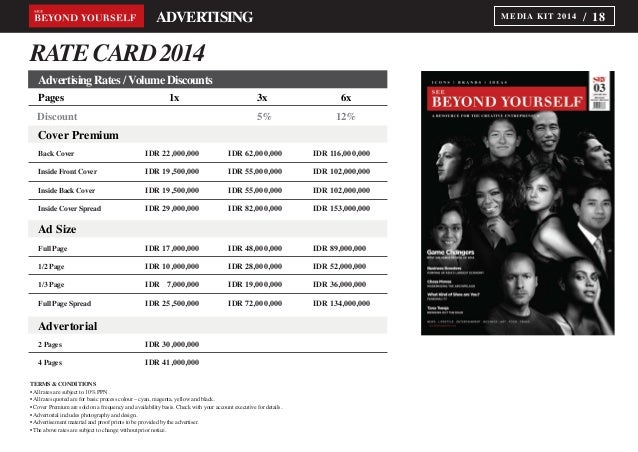 See Beyond Yourself Magazine Media Kit 2014 – Rate Card Template
