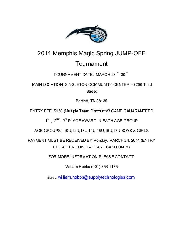 2014 Memphis Magic Spring JUMP-OFF Tournament TOURNAMENT DATE: MARCH 28 TH -30 TH MAIN LOCATION: SINGLETON COMMUNITY CENTE...