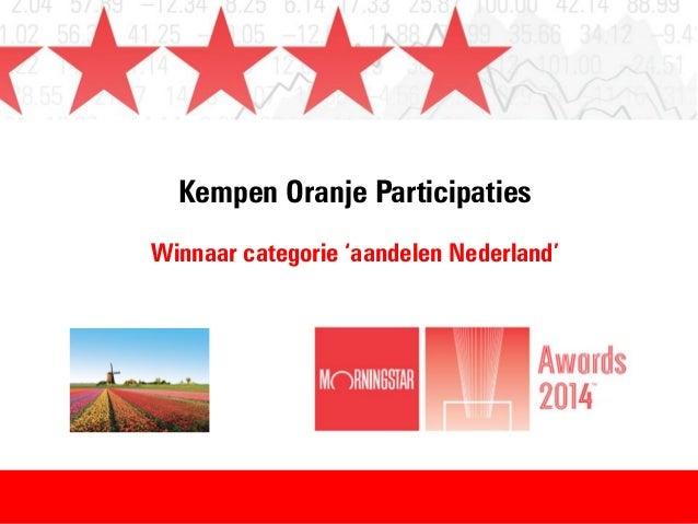 Kempen Oranje Participaties Winnaar categorie 'aandelen Nederland'