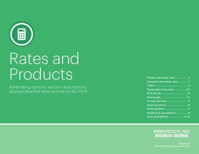 Rates and Products Advertising options, section descriptions, display/classifed rates and terms for 2014  Display advertis...