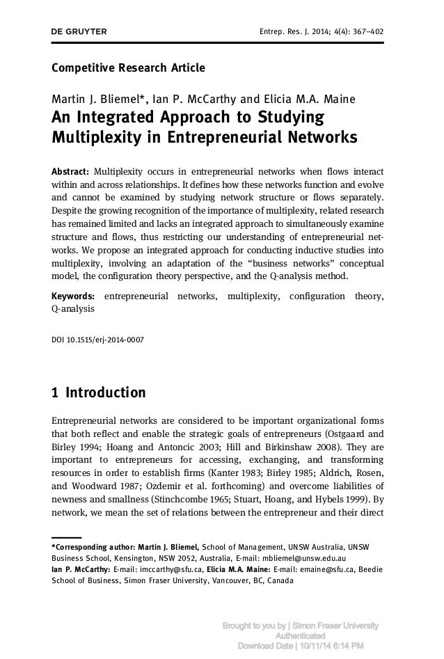 Competitive Research Article  Entrep. Res. J. 2014; 4(4): 367–402  Martin J. Bliemel*, Ian P. McCarthy and Elicia M.A. Mai...