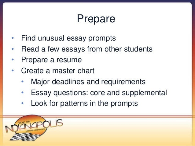 nacac make your stories pop strategies to help students s   6 prepare • unusual essay prompts •