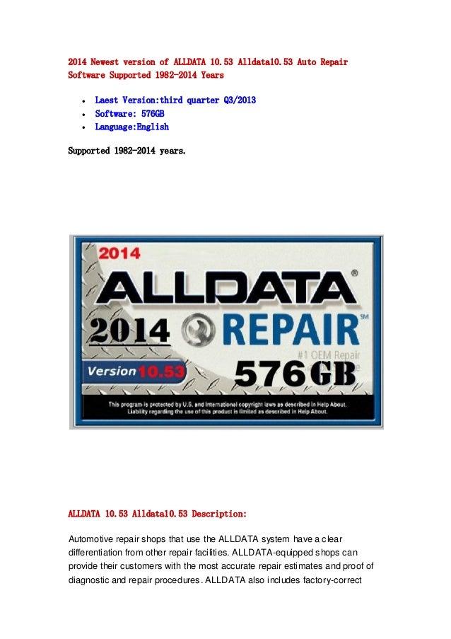 2014 Newest version of ALLDATA 10.53 Alldata10.53 Auto Repair Software Supported 1982-2014 Years     Laest Version:thir...