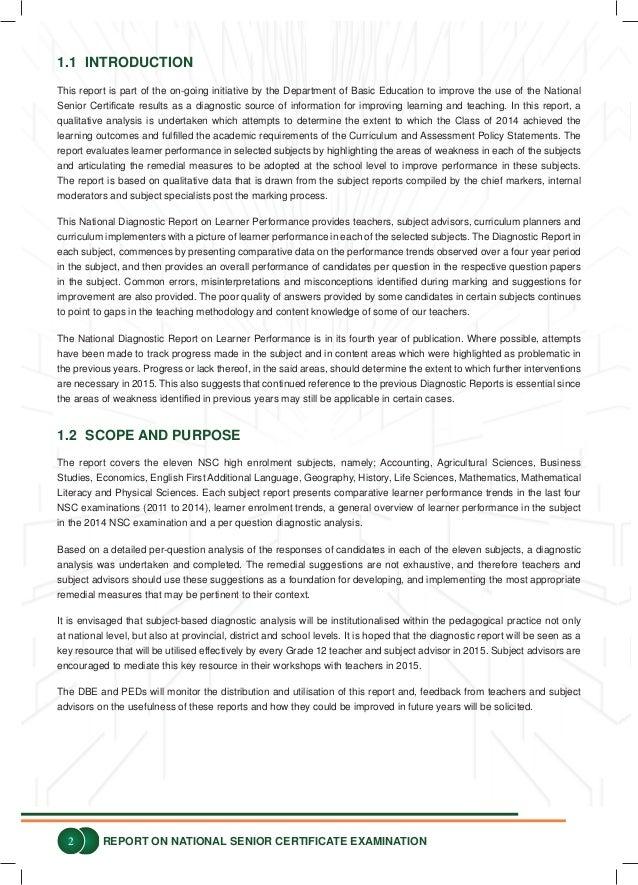 2014 national senior certificate examination diagnostic report rh slideshare net