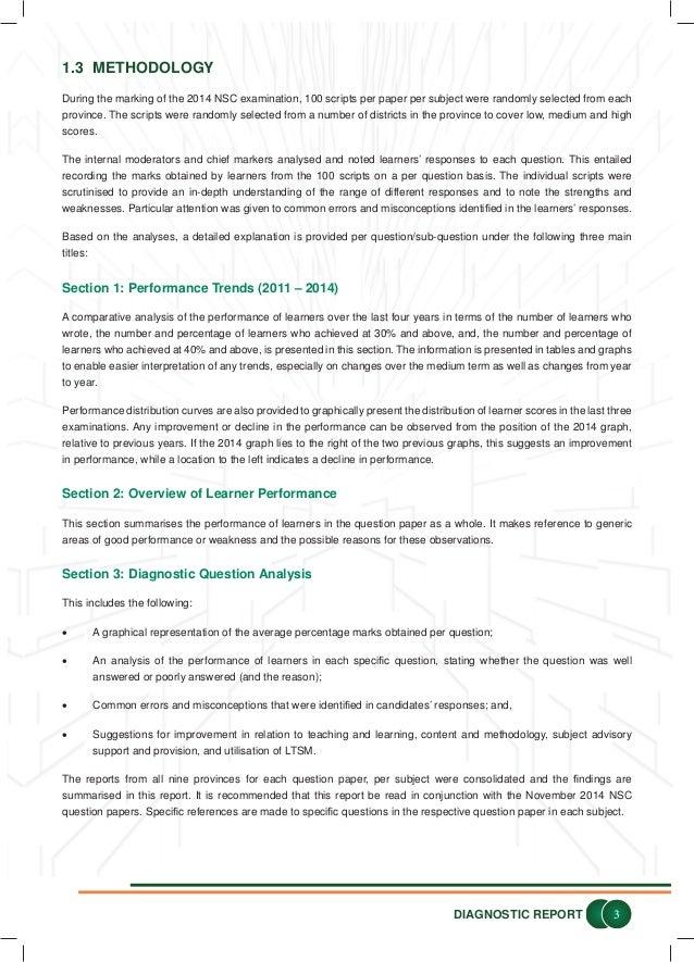 2014 National Senior Certificate Examination Diagnostic report