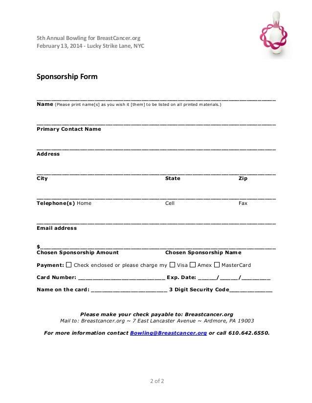 2017 Nyc Bowlathon 101412 Sponsorship Order Form ...  Printable Sponsor Forms