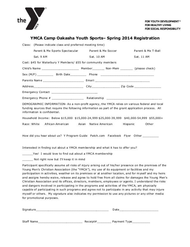 Ymca camp oakasha spring parent me sports registration form for Sport registration form template
