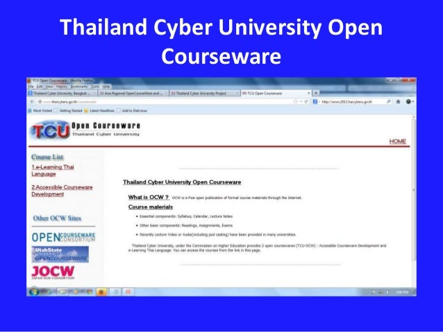 japan opencourseware consortium Ocw is an open and a free publication of formal course materials through the internet course materials essential components: syllabus, calendar, lecture notes other.