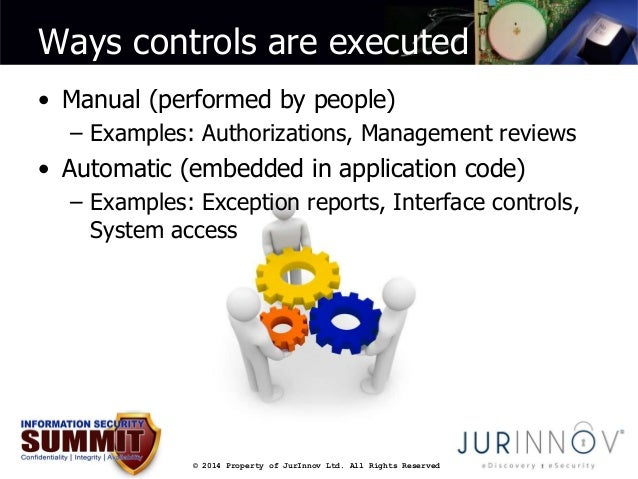 Ways controls are executed  • Manual (performed by people)  – Examples: Authorizations, Management reviews  • Automatic (e...