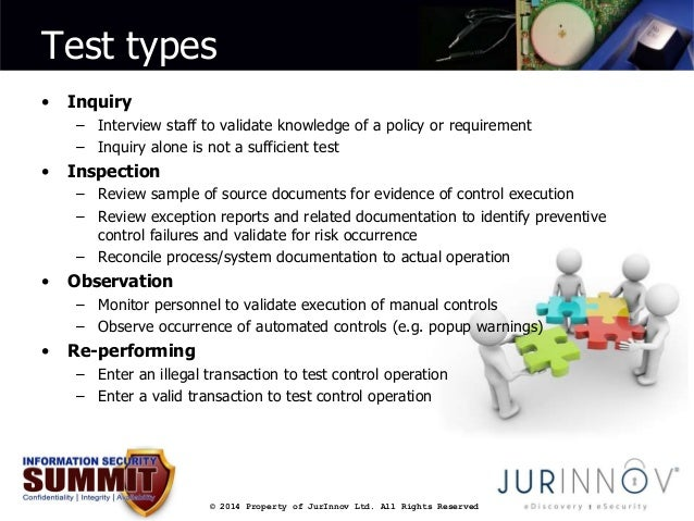 Test types  © 2014 Property of JurInnov Ltd. All Rights Reserved  • Inquiry  – Interview staff to validate knowledge of a ...