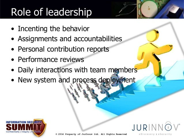 Role of leadership  • Incenting the behavior  • Assignments and accountabilities  • Personal contribution reports  • Perfo...