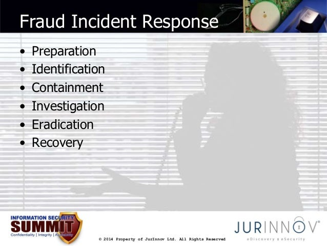 Fraud Incident Response  • Preparation  • Identification  • Containment  • Investigation  • Eradication  • Recovery  © 201...