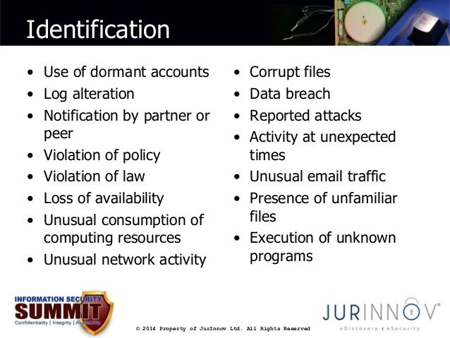 Identification  • Use of dormant accounts  • Log alteration  • Notification by partner or  © 2014 Property of JurInnov Ltd...