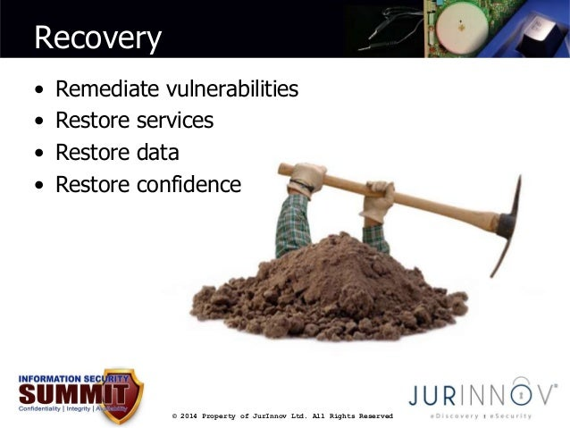 © 2014 Property of JurInnov Ltd. All Rights Reserved  Recovery  • Remediate vulnerabilities  • Restore services  • Restore...
