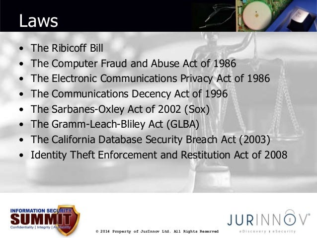 © 2014 Property of JurInnov Ltd. All Rights Reserved  Laws  • The Ribicoff Bill  • The Computer Fraud and Abuse Act of 198...