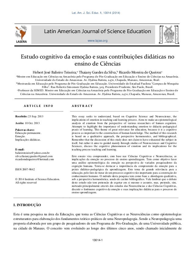 Lat. Am. J. Sci. Educ. 1, 13014 (2014) 13014-1 Latin American Journal of Science Education www.lajse.org Estudo cognitivo ...