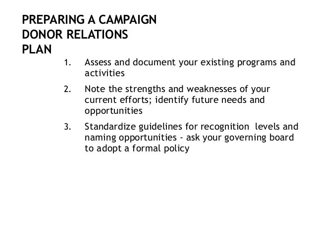4. Develop plans for commitments to the new campaign, as well as plans for continuing stewardship once all pledges are ful...