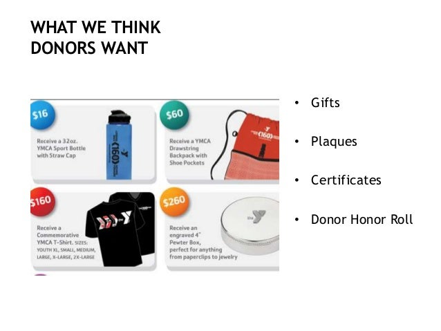 • Gifts • Plaques • Certificates • Donor Honor Roll WHAT WE THINK DONORS WANT