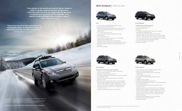 2014 subaru outback brochure. Black Bedroom Furniture Sets. Home Design Ideas