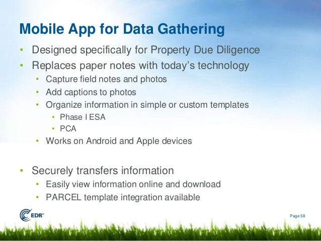 technology due diligence template - 2014 edr new packages webinar