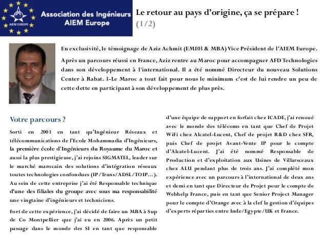 Aiem europe soir e networking retour des double - Cabinet de recrutement au maroc ...