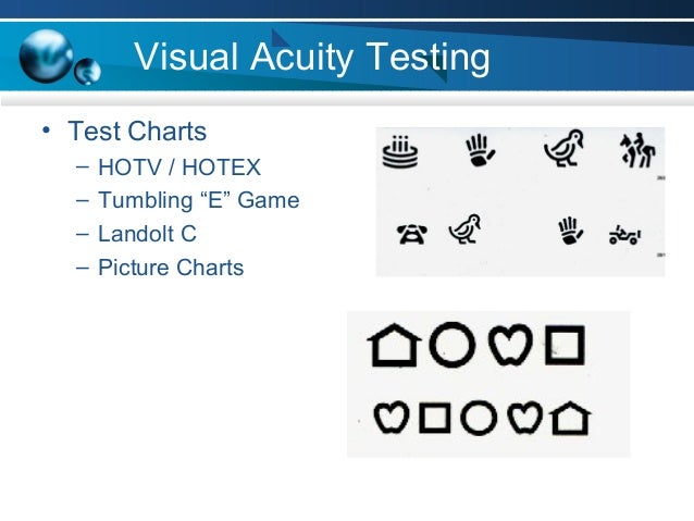 "Visual Acuity Testing • Test Charts – HOTV / HOTEX – Tumbling ""E"" Game – Landolt C – Picture Charts"
